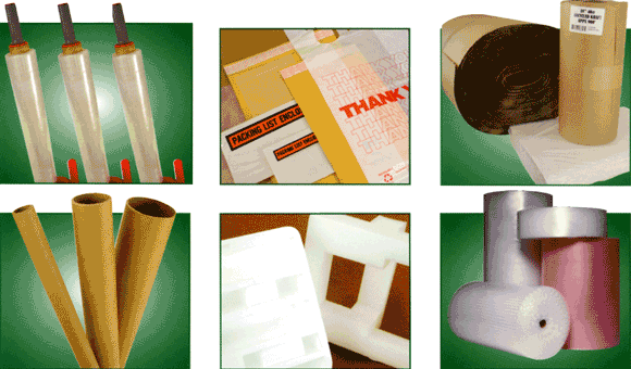 Packaging supplies including stretch film, mailers, bubble wrap, foam, and paper