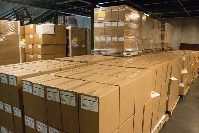 Packed boxes in a warehouse.